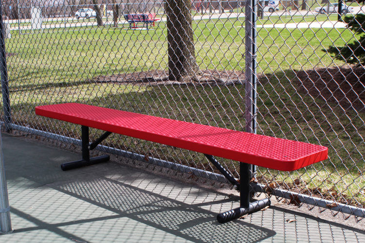 red bench with no back rest